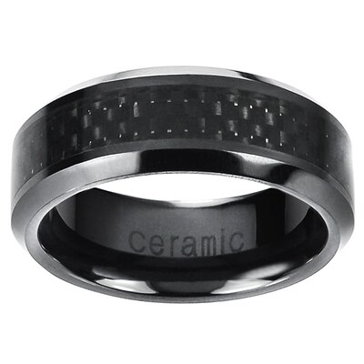 Ceramic Carbon Fiber Inlay Band Ring