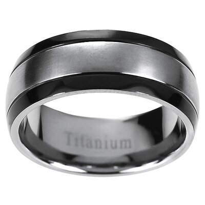 Men's Titanium Grooved Sides Band Ring
