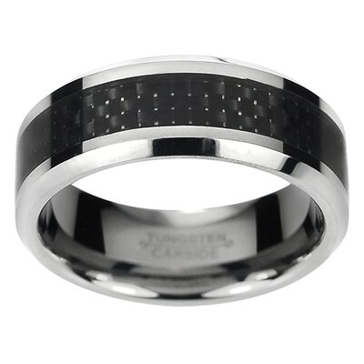 Daxx Men's Tungsten Carbide Carbon Fiber Inlay Comfort Fit Band Ring