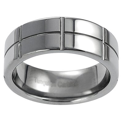 Men's Tungsten Vertical and Horizontal Grooved Band Ring