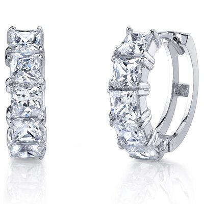 Bonndorf Laboratories Princess Cut Cubic Zirconia Hoop Earrings