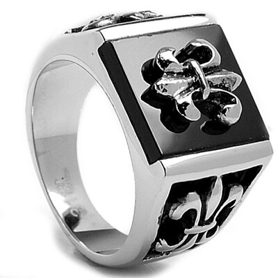 Men's Stainless Steel Onyx Fleur de Lis Ring