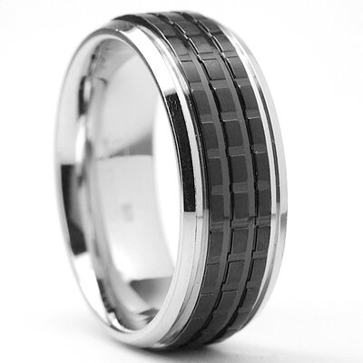 Bonndorf Laboratories Men's Black Plated Stainless Steel Comfort Fit Wedding Band