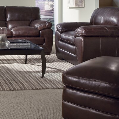 Biscayne Leather Armchair and Ottoman