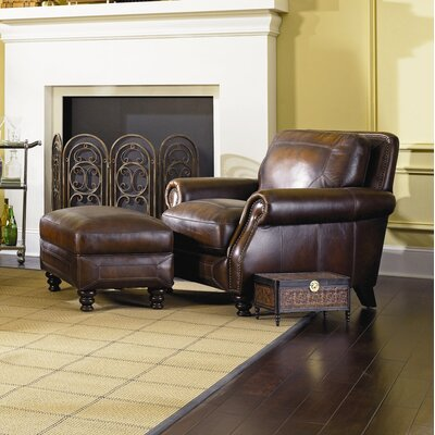 Ashland Leather Armchair and Ottoman