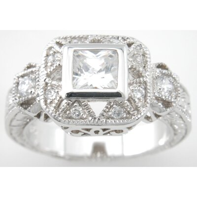 .925 Sterling Silver Princess Cut Cubic Zirconium Ring