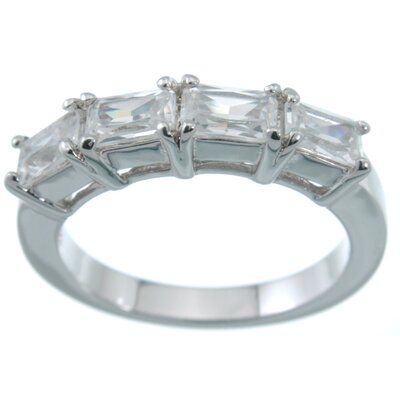 .925 Sterling Silver Baguette Cut Cubic Zirconium Fashion Band