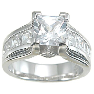 .925 Sterling Silver Princess Cut Cubic Zirconia Anniversary Ring