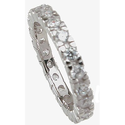 Plutus Partners .925 Sterling Silver Princess Cut Cubic Zirconia Eternity Wedding Band