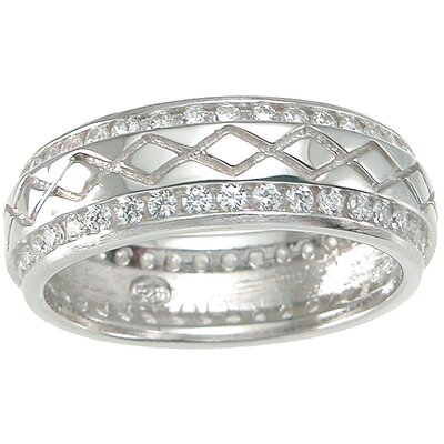 Men's .925 Sterling Silver Brilliant Cut Cubic Zirconia Wedding Band Ring