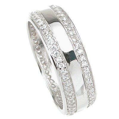 Plutus Partners Men's .925 Sterling Silver Brilliant Cut Cubic Zirconia Wedding Band
