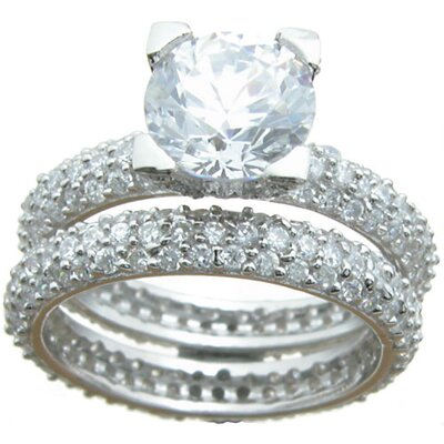 Plutus Partners .925 Sterling Silver Brilliant Cut Cubic Zirconia Eternity Wedding Ring Set