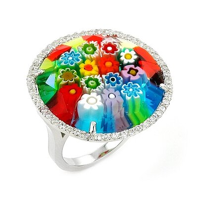Millefiori Sterling Silver Cubic Zirconia / Round Glass Ring
