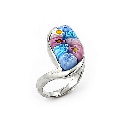 Millefiori Sterling Silver Curved Marquise Glass Ring
