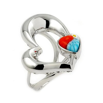 Millefiori Sterling Silver Cut Out Electroform Heart Glass Ring
