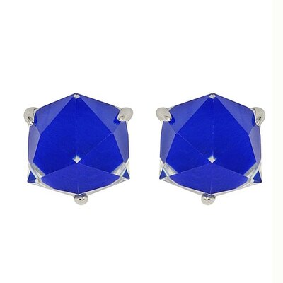 Demiquartz Semiprecious Lapis Doublet Cube Earrings