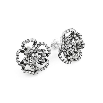 Ferroni Swarovski Elements Zirconia Flower Stud Earrings