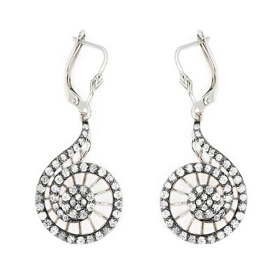 Ferroni Swarovski Elements Zirconia Spiral Drop Earrings