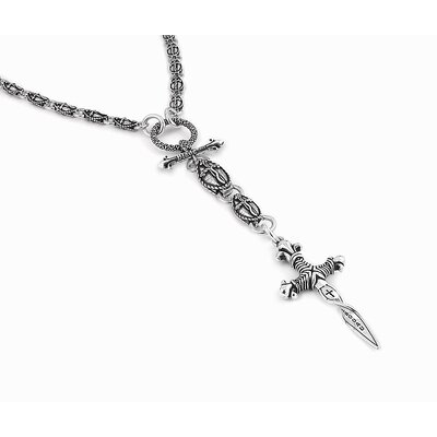 Twisted Blade Silver Oval Link Rosary Necklace