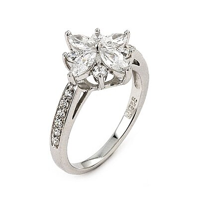 Round and Marquise Cubic Zirconia Flower Ring