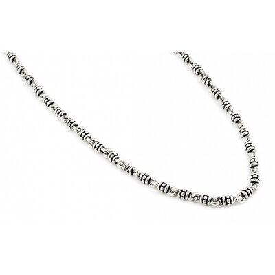 Twisted Blade Silver Thin Studded Link Necklace