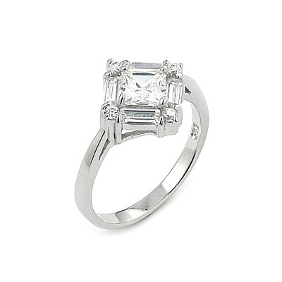 Sterling Silver Princess / Baguette Cut Cubic Zirconia Ring