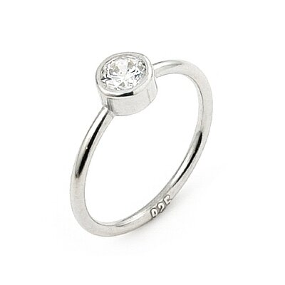 Swarovski Elements Sterling Silver Cubic Zirconia Stackable Ring