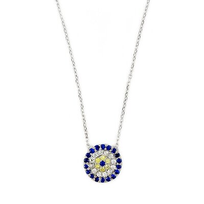 Sterling Silver Cubic Zirconia Adjustable Necklace
