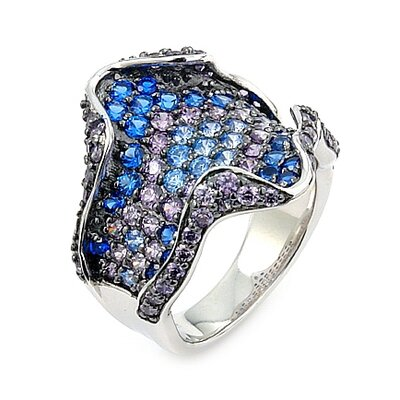 Ferroni Sterling Silver Swarovski Elements Zirconia Freeform Ring