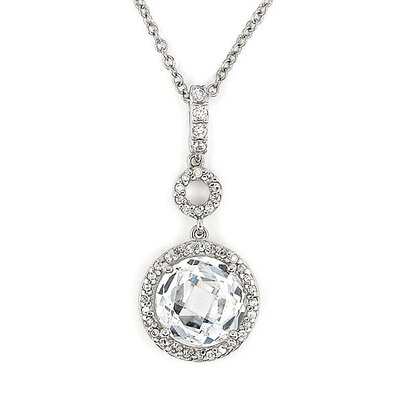 Sterling Silver Dangling Round Cubic Zirconia Necklace