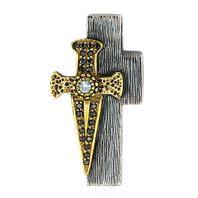 Signature Sterling Silver Split and Dagger Dignity Cubic Zirconia Cross Pendant