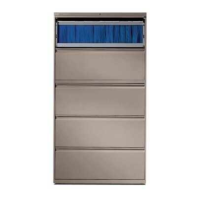 "HON 800 Series 36"" W Five-Drawer Lateral File with Roll-Out Shelf"
