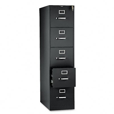 HON 310 Series Five-Drawer, Full-Suspension File, Letter, 26-1/2d, Black