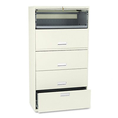 HON 600 Series Lateral File w/1 Drwr/4 Receding Door Roll-Out Shelves, 36w, PY