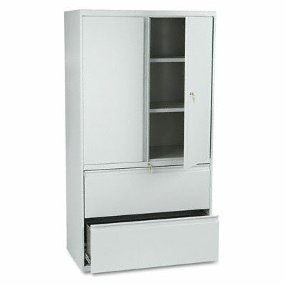 HON 800 Series Lateral File w/Storage Cabinet, 36w x 19-1/4d, LGY