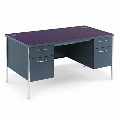 HON Mentor Series Double Pedestal Desk with Soft Radius Edge Corner