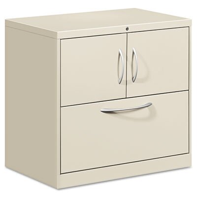HON Flagship File Center w/Storage Cabinet & Lateral File, 30w x 18d x 28h, Gray