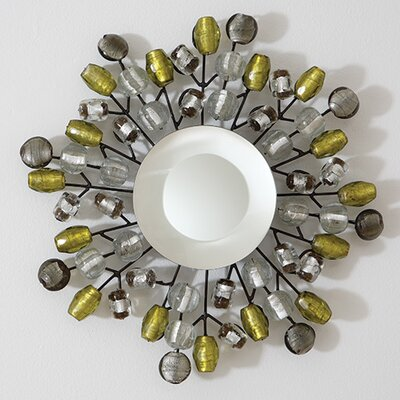 Global Views Bejeweled Small Mirror in Grey / Citron