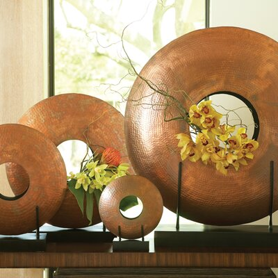Global Views Disc Vase in Copper Plated Iron