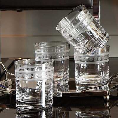 Global Views Double Old Fashion 2 Band Drinking Glasses