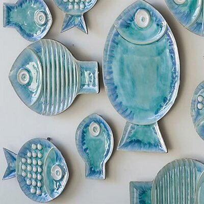Global Views Blue Fish Plate Wall Décor