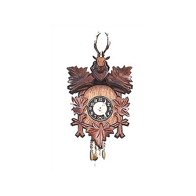 Black Forest Carved Clock with Deer Head