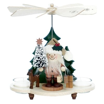 Alexander Taron Ulbricht / Seiffener Nussknacker Santa with Tree Pyramid Nutcracker in Natural Wood