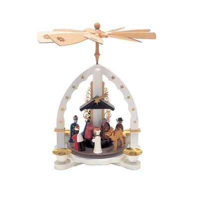 Richard Glaesser Wood Nativity Scene in White with Wisemen Pyramid