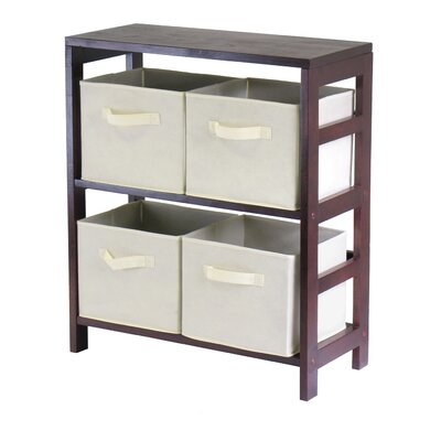 Capri Low Storage Shelf with 4 Foldable Baskets