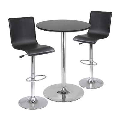 "Winsome 28"" Round Pub Table with L-Shape Airlift Bar Stools Set"