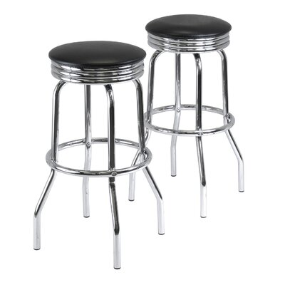 Winsome Summit Swivel Bar Stool in Black (Set of 2)