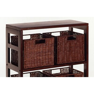 Winsome Espresso Wide 3 Section Storage Shelf with Baskets