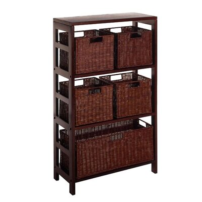 Espresso Wide 3 Section Storage Shelf with Baskets