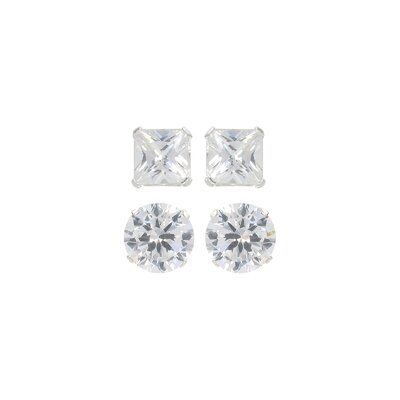 Sunstone Multis Round and Square Cubic Zirconia Duo Earring